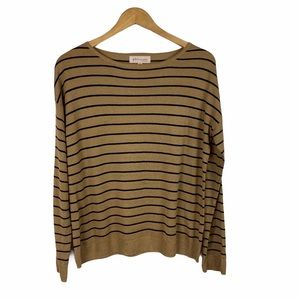 Philosophy tan and black striped sweater